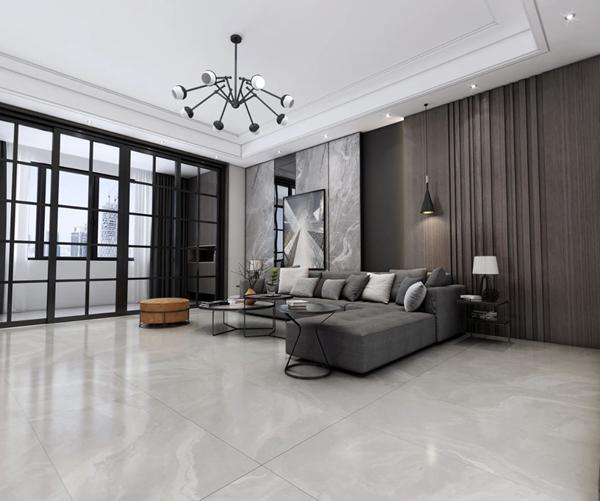 陶瓷十大品牌誉辉陶瓷高级灰客厅装修效果图
