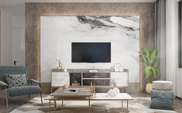岩板背景墙的简约时尚美,陶瓷十大品牌简约风